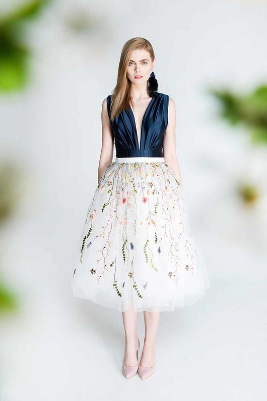 Spodnice Spodnica Tiulowa Z Kwiatowym Haftem S102 Tea Length Skirt Womens Fashion Skirt Tulle Skirt