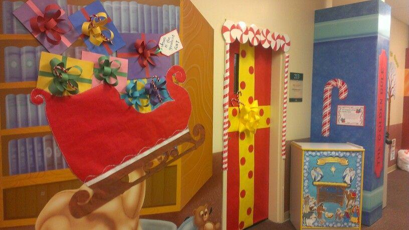 Santa Sleigh And Door Present Christmas Classroom Door