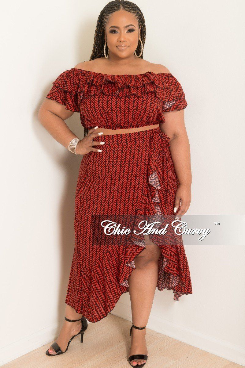 a4a7c0eddc6b3 Plus Size 2-Piece Off the Shoulder Ruffle Top and Wrap Tie Skirt – Chic And  Curvy