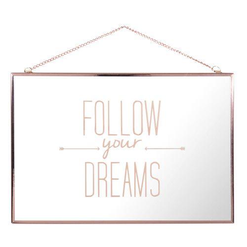 miroir en m tal cuivr 20 x 30 cm follow your dreams f l. Black Bedroom Furniture Sets. Home Design Ideas