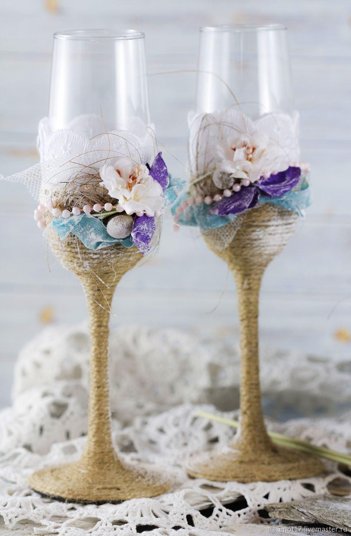 Wedding Glasses Свадебные бокалы в стиле рустик купить
