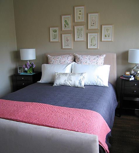 Peaceful Bedroom Colors And Decorating Ideas: Love The Collage Of Prints Above The Bed And The Set-up Of