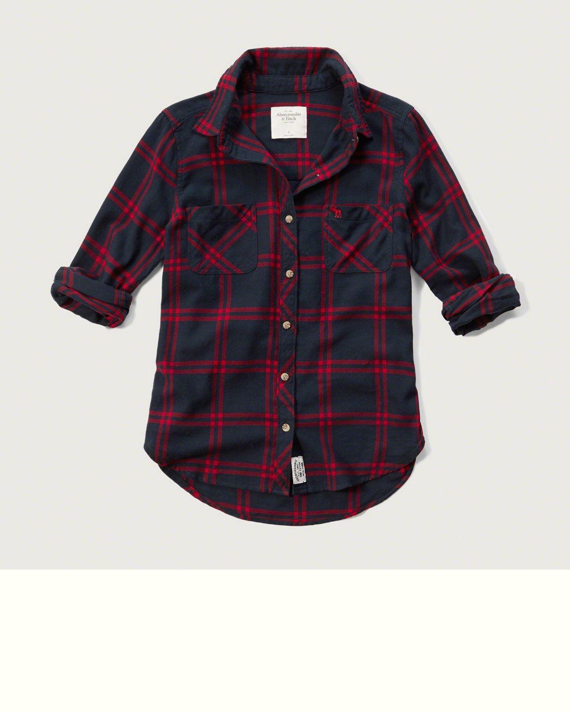 Womens Red Plaid Flannel Shirt