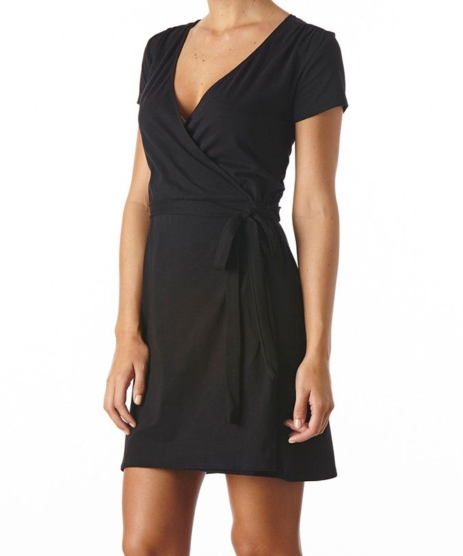 Women's Black Wrap Dress, the perfect not too low, not too high V ...