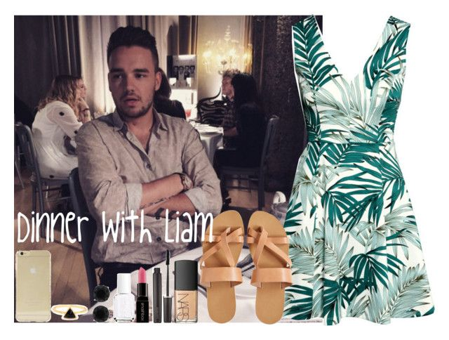 """""""Dinner with Liam"""" by kay4nyr ❤ liked on Polyvore featuring H&M, NARS Cosmetics, KYMA, Laura Mercier, Essie, Smashbox, Sonix and Anne Klein"""