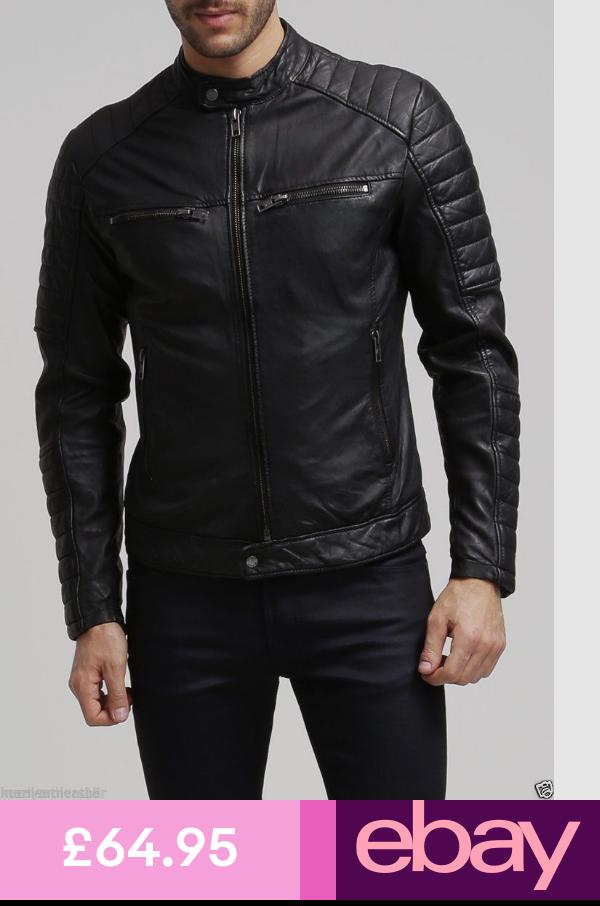 Mens Stylish Lambskin Genuine Leather Motorcycle Biker Jacket 64