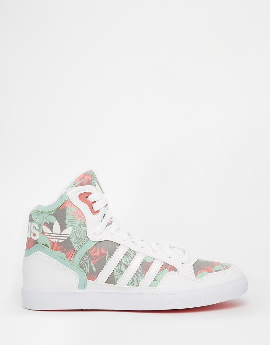 big sale 6edf0 47bf2 Image 1 of adidas Originals Extaball White   Green High Top Sneakers