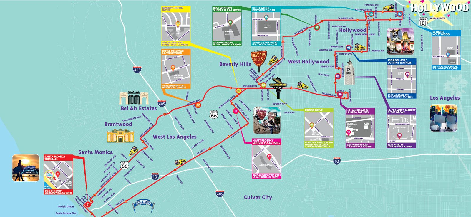 Map Of Los Angeles Attractions  Indiana Map