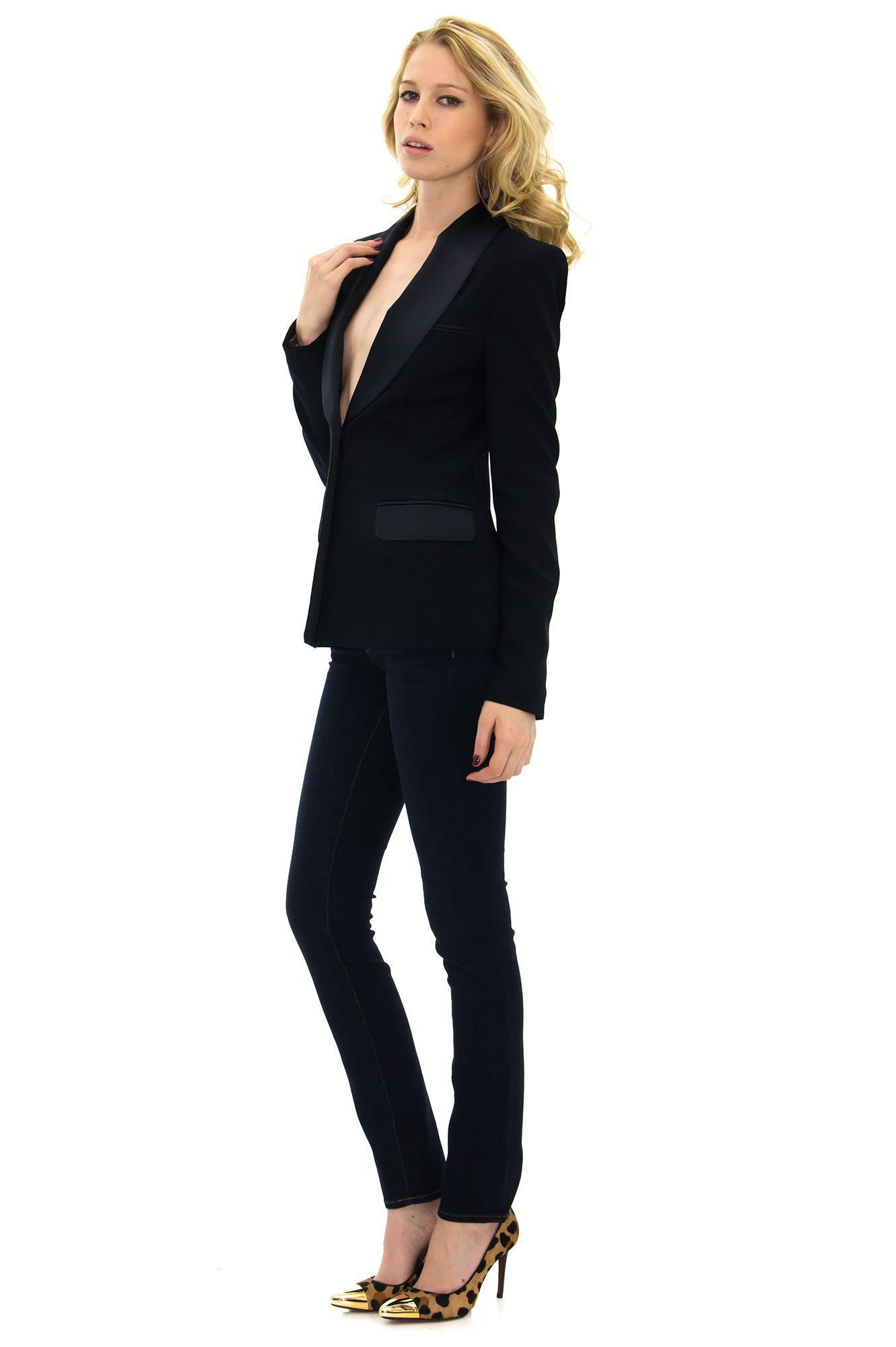 veste de smoking femme bleu marine stefanie renoma clothes pinterest vestes de. Black Bedroom Furniture Sets. Home Design Ideas