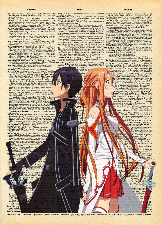 Sword Art Online Kirito And Asuna Dictionary Art Print Sword Art Online Kirito Sword Art Online Yui Sword Art