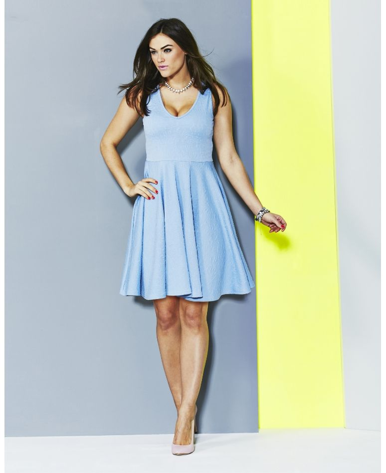 Plus Size Light Blue Jacquard Skater Dress From Simply Be - PLUS ...