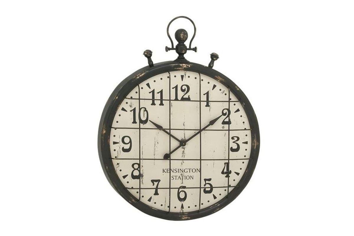 Vintage Reflections Rustic Stopwatch Style Wall Clock Metal Grid Rustic Metal Wall Clock