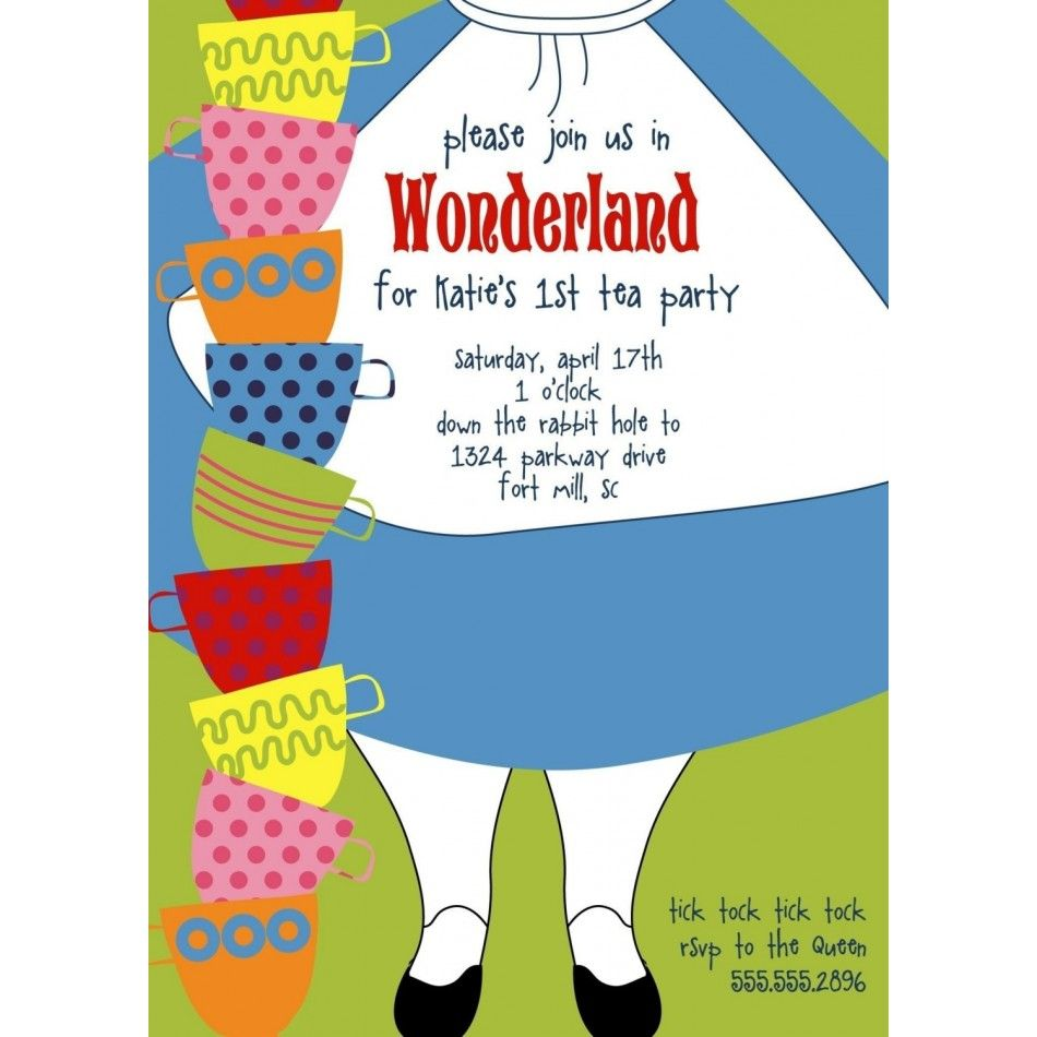 Alice in Wonderland Dress Printable Birthday Party Invitation | Mad ...