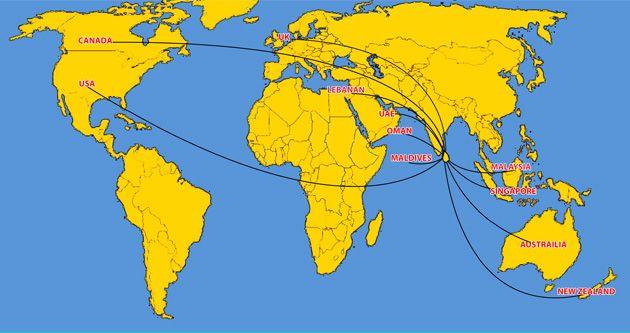 Usa To Maldives Map Google Search