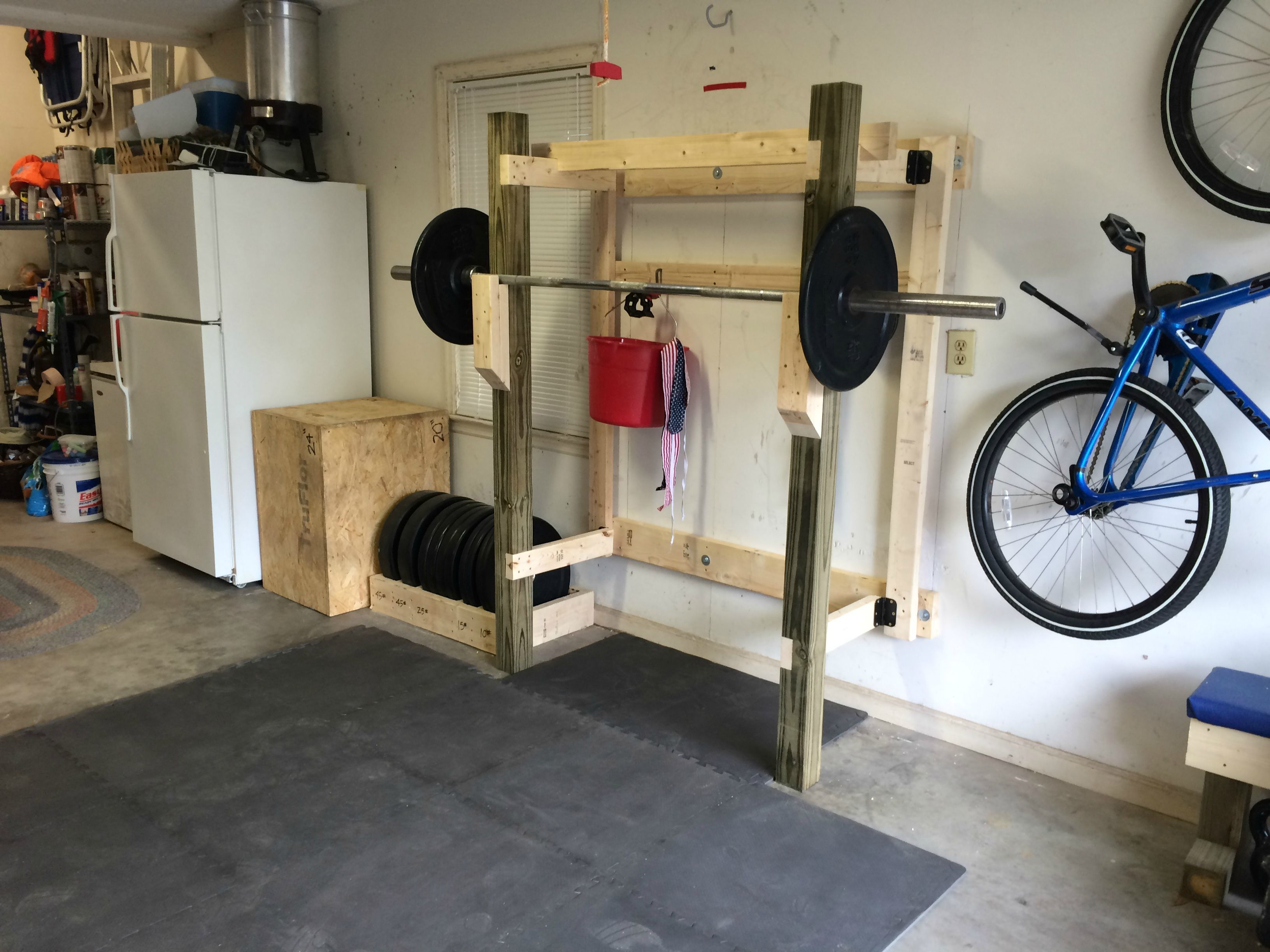 Diy folding squat rack gym and garage