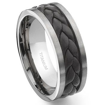 Tungsten And Titanium Wedding Rings For Men | Menu0027s Brown Titanium Leather  Braided Ring From Mens