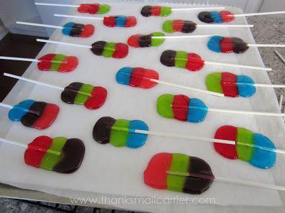 Homemade Jolly Rancher lollipops~ Making them for the bake sale tomorrow #bakesaleideas