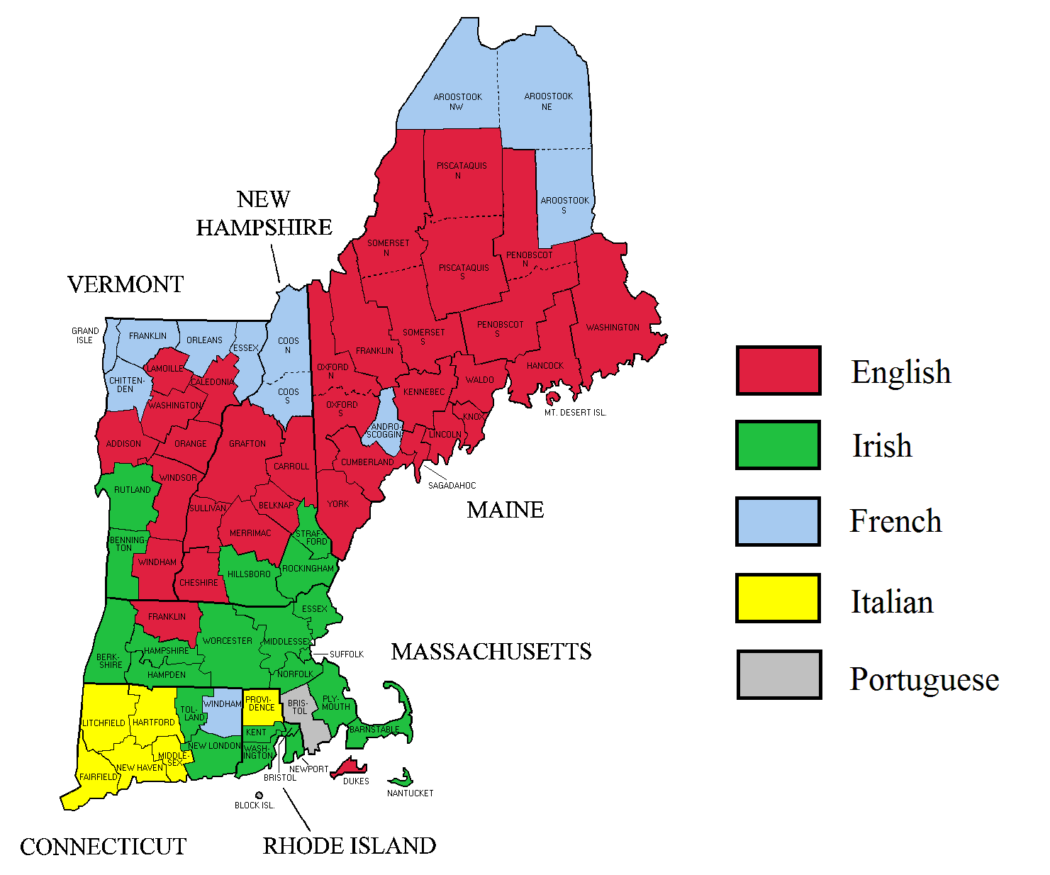 New England Map Usa Description New England Ancestry By County - Us map new england