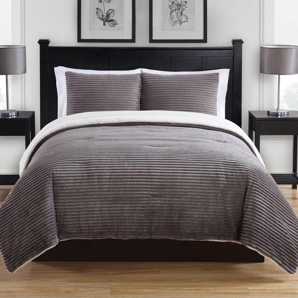 Best Ribbed Plush Comforter Set Grey Comforter Sets Grey 400 x 300