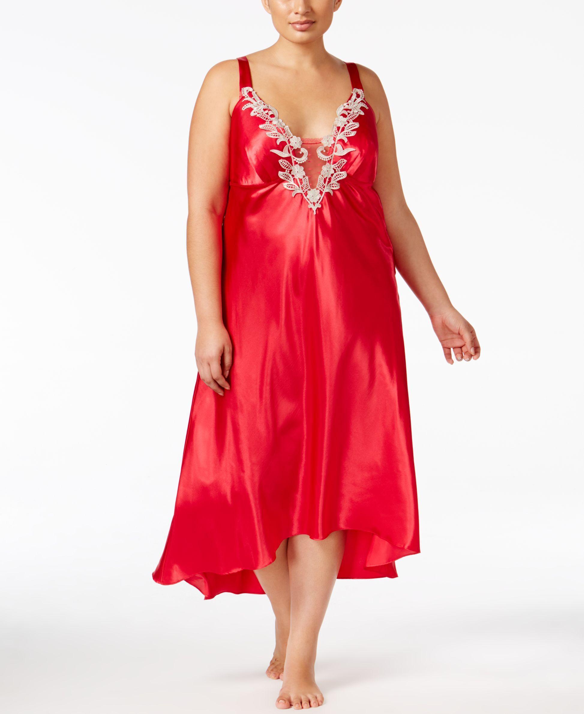 Flora by Flora Nikrooz Plus Size Satin Stella Nightgown | Plus Size ...