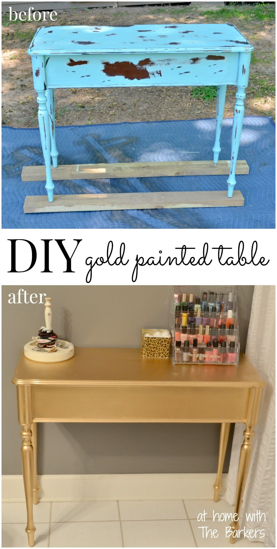 Diy Gold Painted Table Diy Home Decor Furniture Makeover