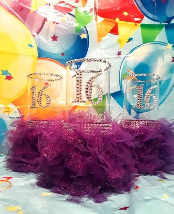 Sweet 16 gift, Sweet 16 decorations,  Sweet 16 centerpiece, Sweet 16 party decorations, On sell Swee #sweet16centerpieces