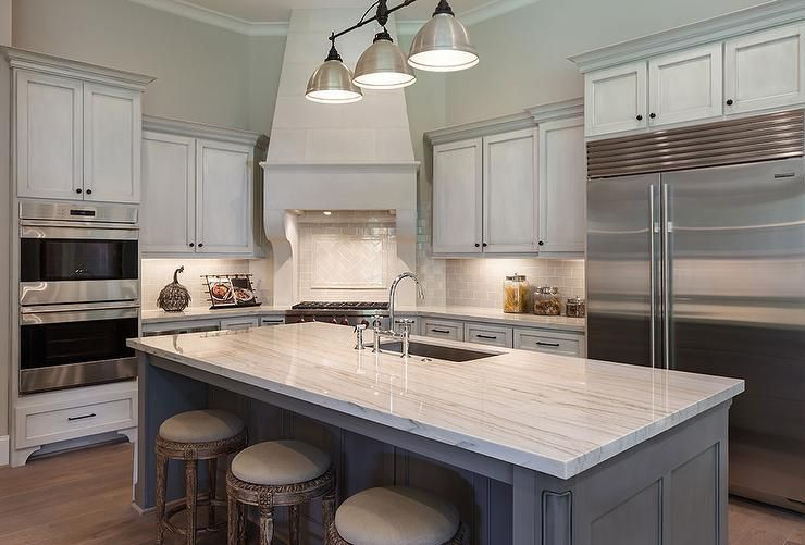 glamorous kitchen island white center | Beautiful kitchen features a three light linear industrial ...