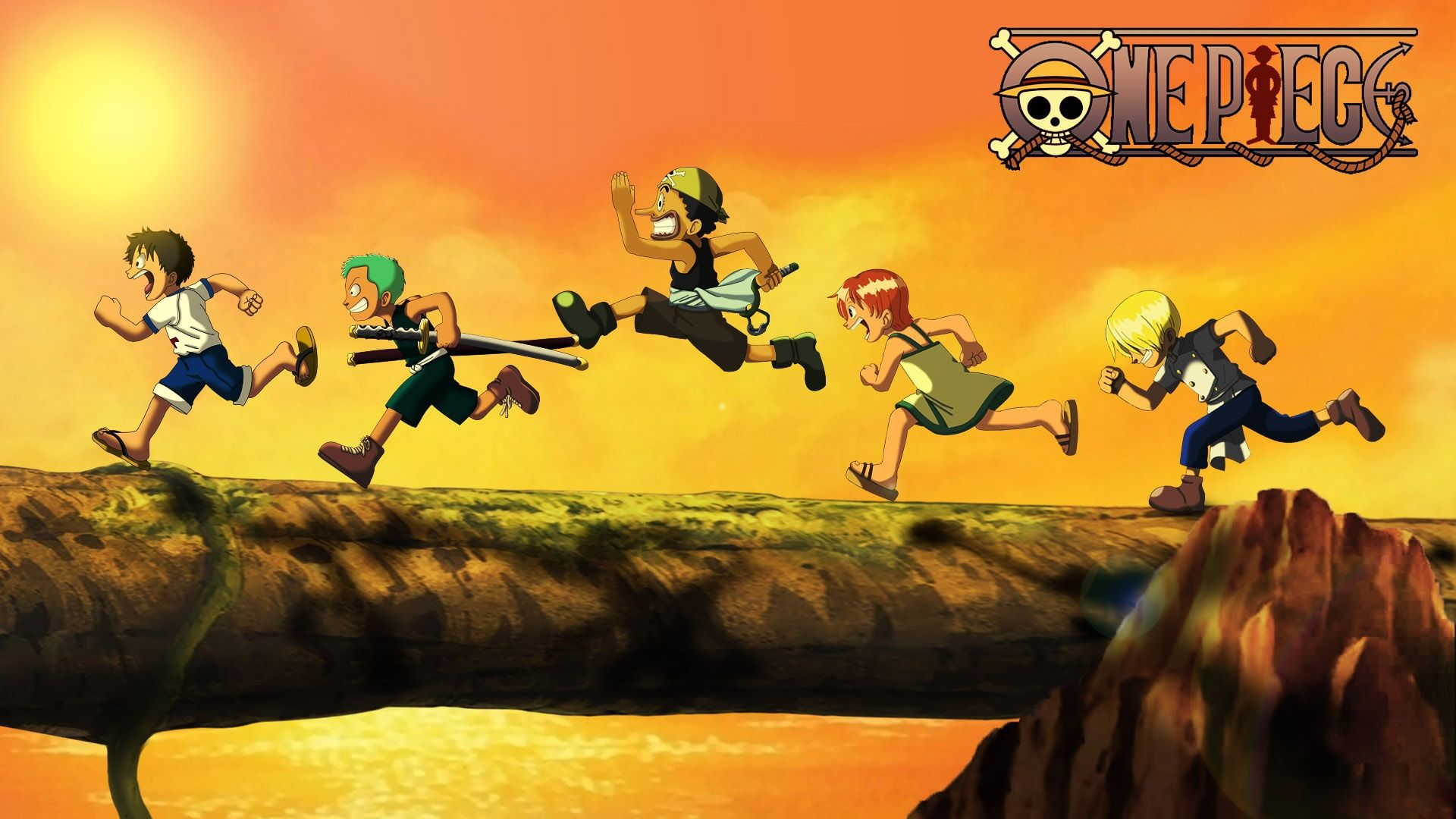 One Piece Kid Luffy Zoro Usopp Nami And Sanji Wallpaper