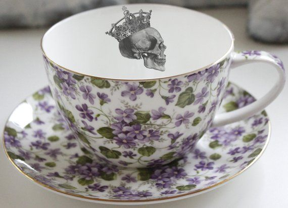 16 Ounce Jumbo Custom Violet Chintz Teacup And Saucer Set Personalized Teacup Design Your Own Teacup Skeleton Teacup Personalized Teacup Tea Cups Pretty Tea Cups Floral Tea