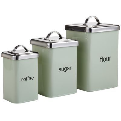 Mint Green Metal Canisters For Kitchen