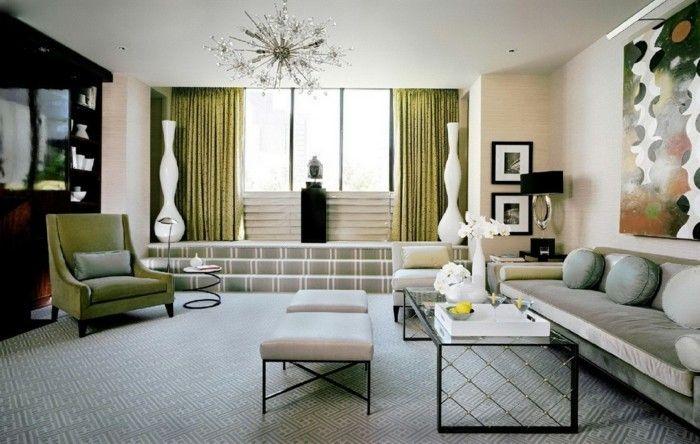 wohnung einrichten ideen art deco stil grüne gardinen schöner
