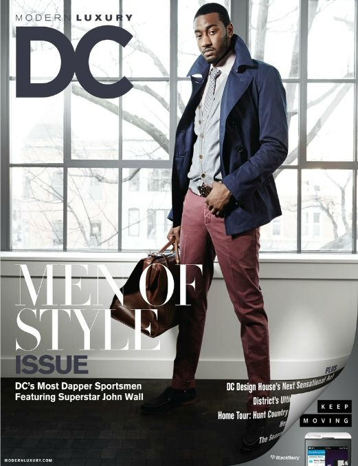 """John Wall graces the cover of D.C. Modern Luxury. The Wizards guard took time to pose for a fashion shoot for the publication's """"Men of Style"""" feature."""