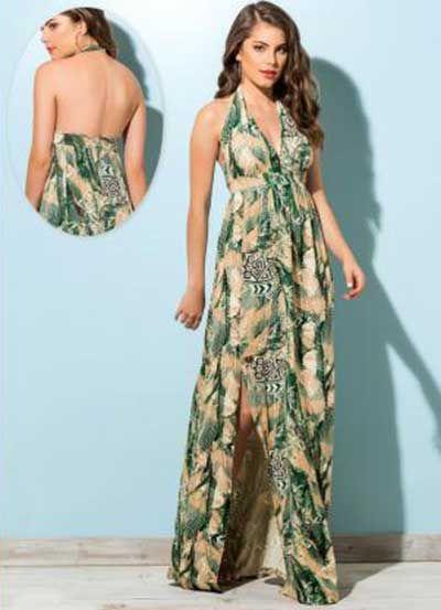 vestidos longos estampados frente unica
