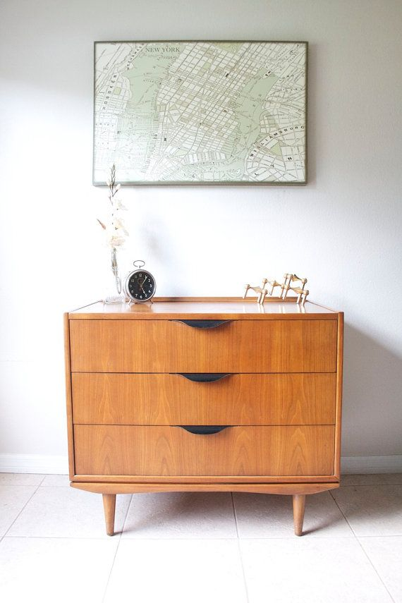 Mid Century Modern 3 Drawer Chest Danish Modern Walnut Petite