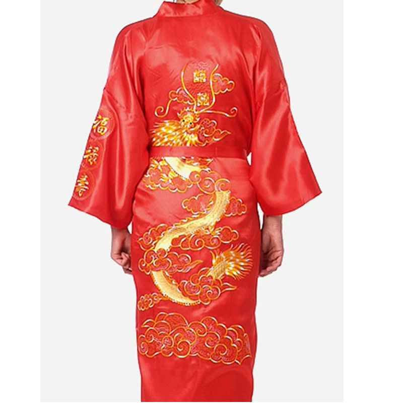 New Arrival Red Traditonal Chinese Men's Satin Polyester Robe Embroidery Dragon Bath Gown Kimono Size S M L XL XXL XXXL ZR04
