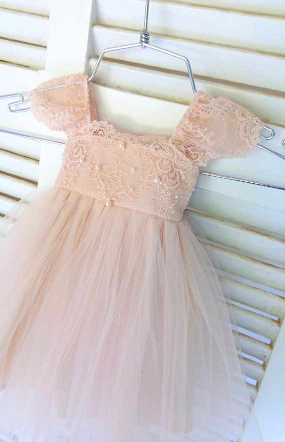 685c5818f RUE DEL SOL blush flower girl dress French lace and silk tulle dress ...
