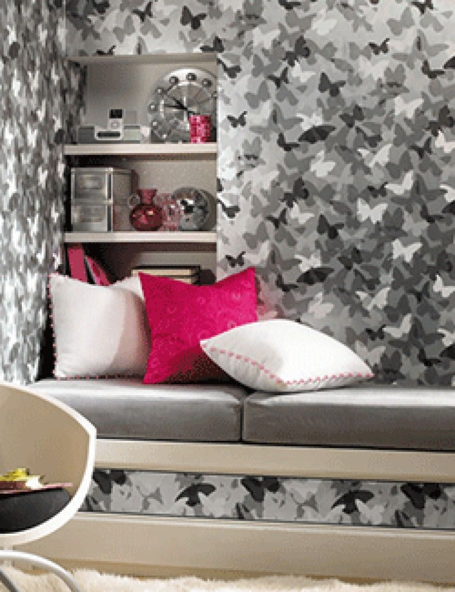 Mesmerizing black white gray butterfly wallpaper decoration in small bedroom ideas for teenage Wallpaper for teenage girl bedroom