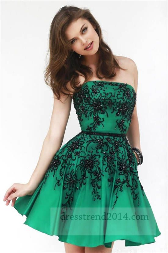 Black and Green Short Homecoming Dresses 2015
