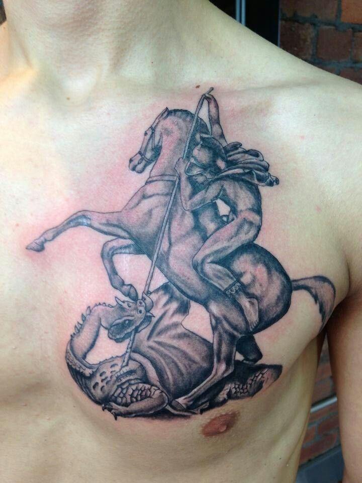 George Dragon Black And Grey Tattoo Rough Diamond Tattoos