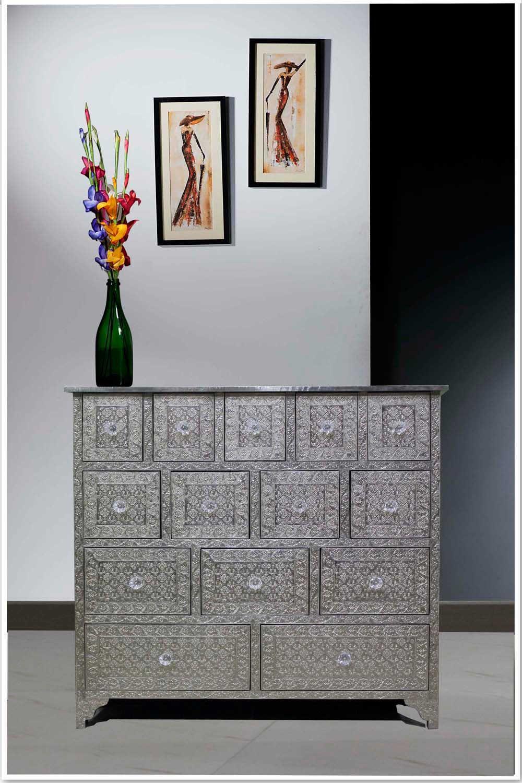 pressed metal furniture. Embossed White Metal 14-Drawer Chest /Sideboard/Metal Dresser | Bone Inlay Interior Furniture Store Pressed U