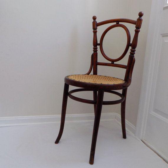 Circa 1900 Antique Fischel Cane Seat Wood Chair From Austria