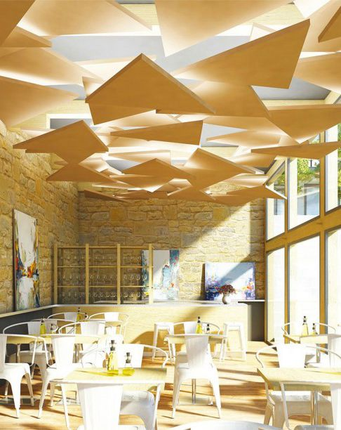 Deckensegel dreieckig Inwerk Akustik und Deckengestaltung - deckengestaltung deckensegel