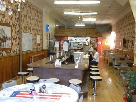 Interior of the RED ROOSTER CAFE in Mineral Point, Wisconsin.