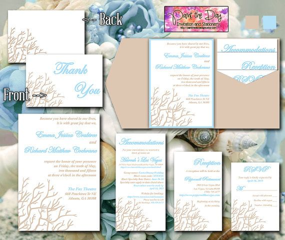 Baby Blue Wedding Invitations: Beach Wedding Coral Branch Sand Tan Light Baby Blue
