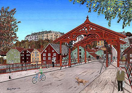 Henning Meyer bilde av gamle bybro tegning av henning meyer museums and