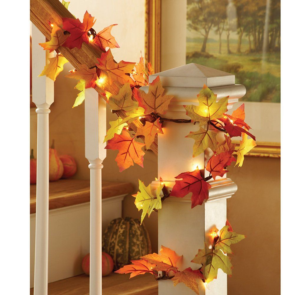 Lighted Fall Leaves Garland for decorating the house in the fall