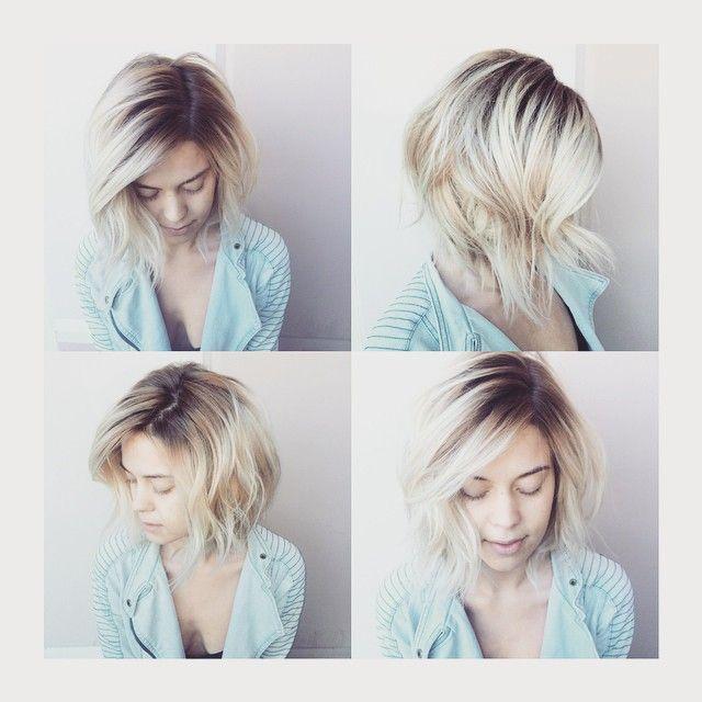 Rooty Bleach Out Blonde Ombre Short Hair Hair Platinum Blonde Hair