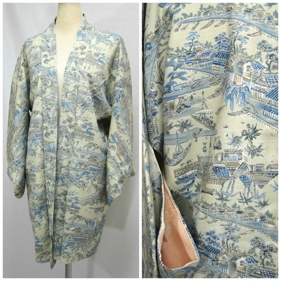 fc00211d5 Silk Haori Jacket. Japanese Vintage Coat. Traditional Scene Blue and Green  (Ref: 034)