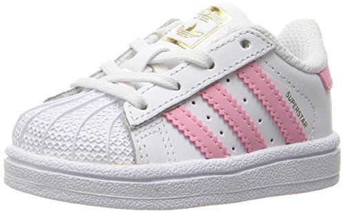 adidas Originals Girls' Superstar I Sneaker, White/Clear Light Pink  Metallic/Gold, 10 M US Toddler: Classic details ground these mesh-lined  infant's shoes ...