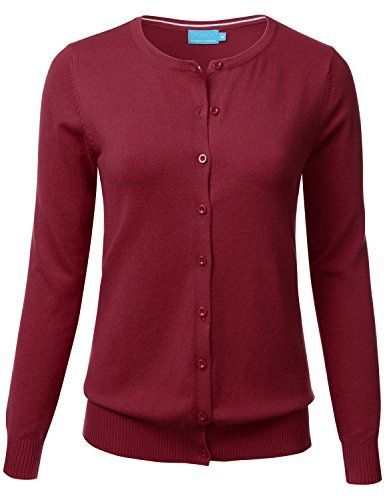FLORIA Women Button Down Crew Neck Long Sleeve Soft Knit Cardigan Sweater  Burgundy S d3c617b55